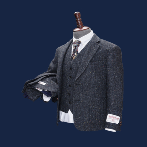 Edward Charcoal Herringbone Harris Tweed