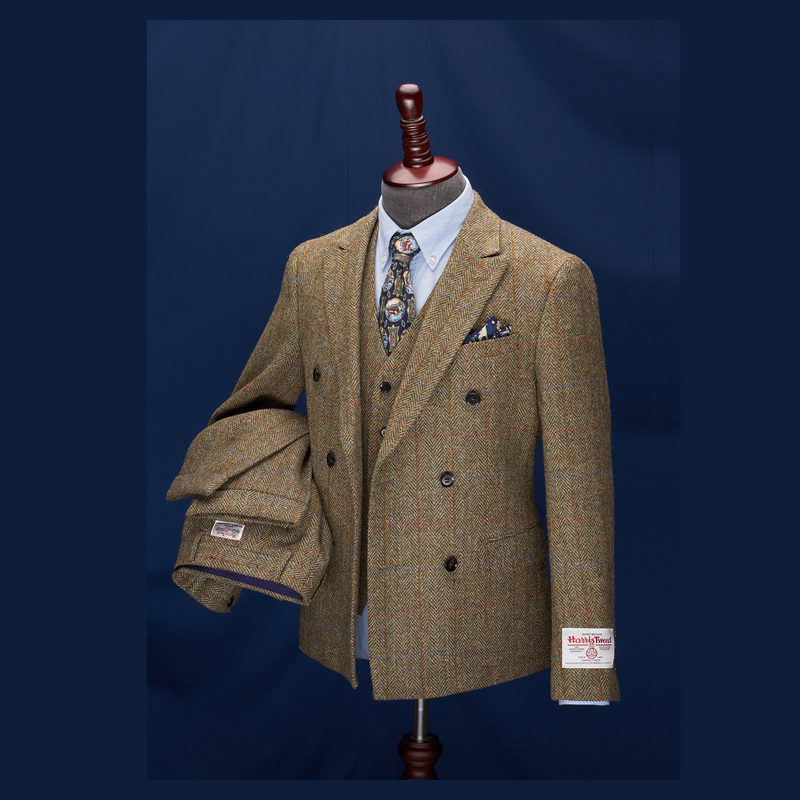 King Albert Windowpane Harris Tweed Herringbone Suit
