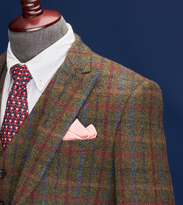 Perth Olive Windowpane Harris Tweed Suit