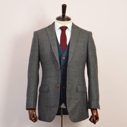 British Classic Grey Herringbone Plaid Mix & Match Tweed Suit