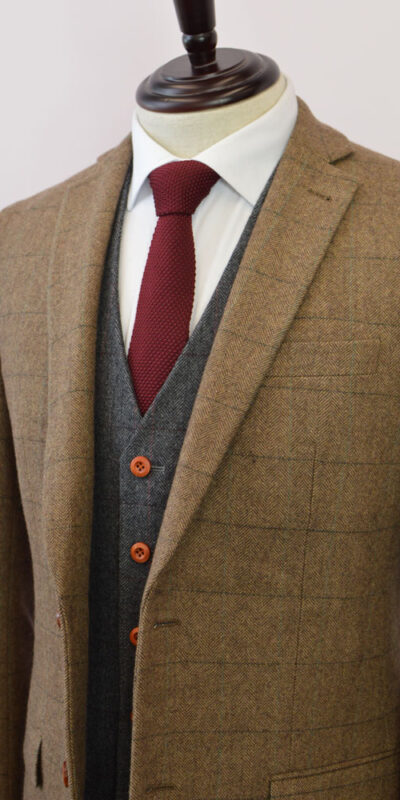 Beige/Brown Herringbone Plaid Mix & Match Tweed Suit