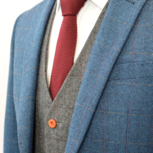 Blue Classic Herringbone Plaid Mix & Match Tweed Suit
