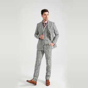 White Tartan Tweed Suit