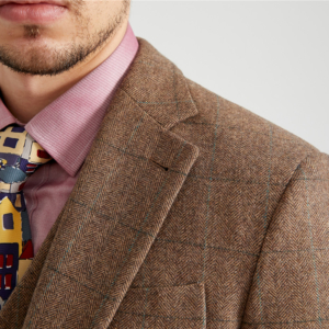 Beige Brown Vintage Herringbone Plaid Tweed Suit