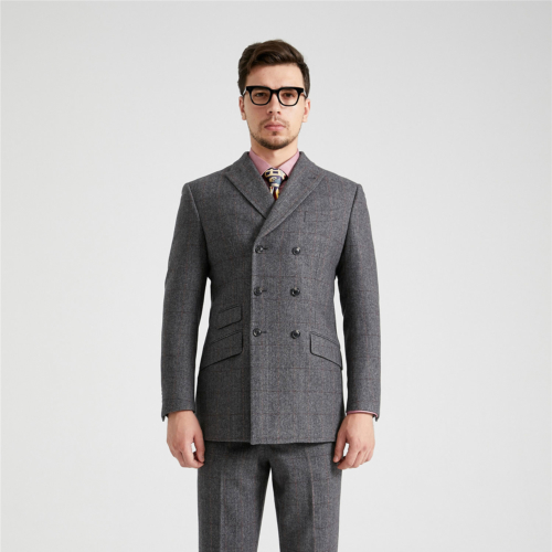 British Classic Grey Herringbone Plaid Double Breasted Tweed Suit