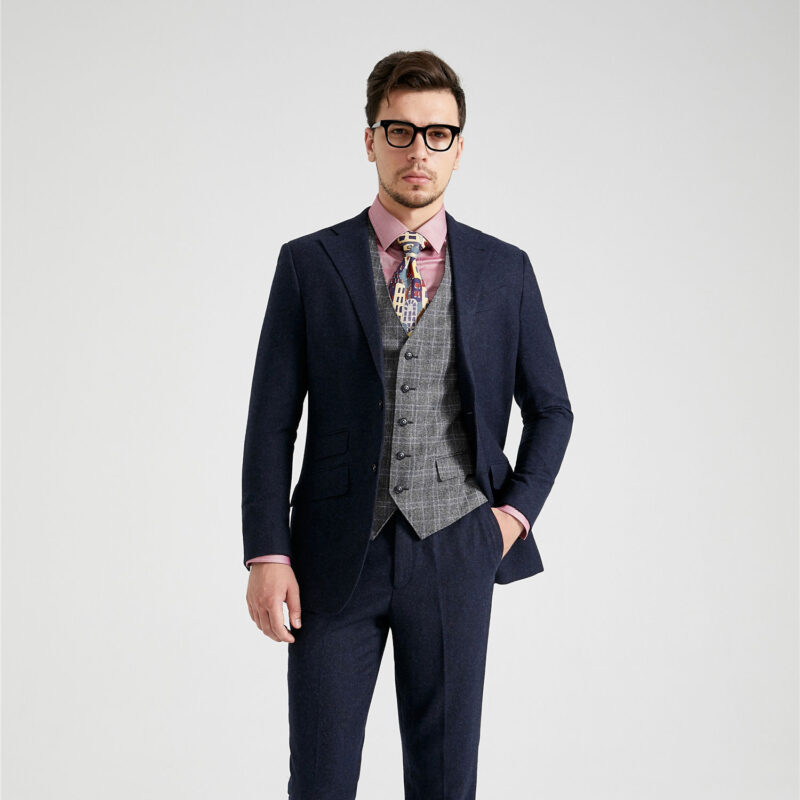 Cheshire Navy Barleycorn Mix And Match Tweed Suit