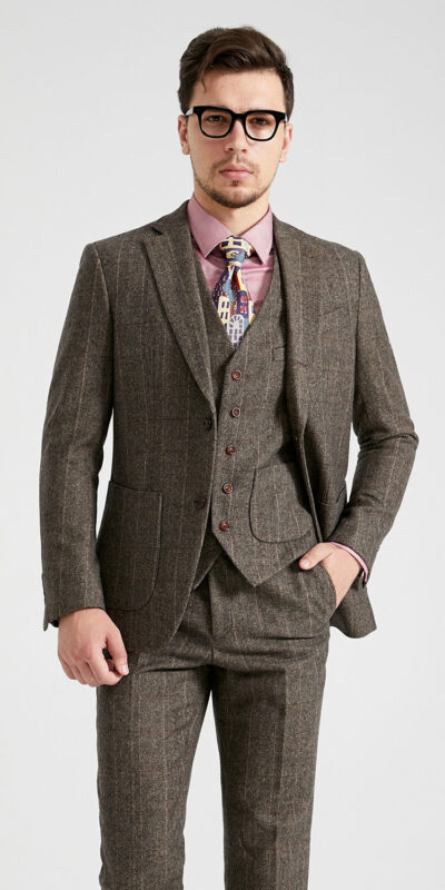 Army Green Herringbone Country Vintage Tweed Suit