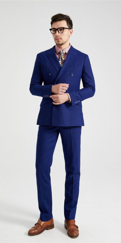 Royal Blue Irish Donegal Double Breasted Tweed Suit
