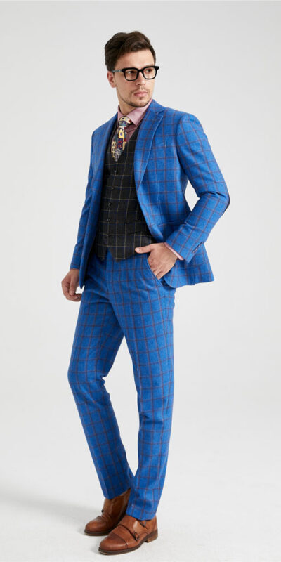 Yorkshire Blue Plaid Mix & Match Tweed Suit