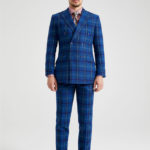 Erskine Royal Blue Tartan Double-Breasted Tweed Suit