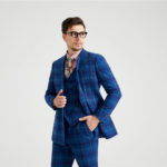 Erskine Royal Blue Tartan Tweed Suit