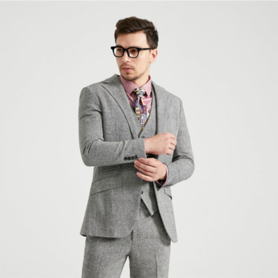 Light Grey Barleycorn Tweed Suit