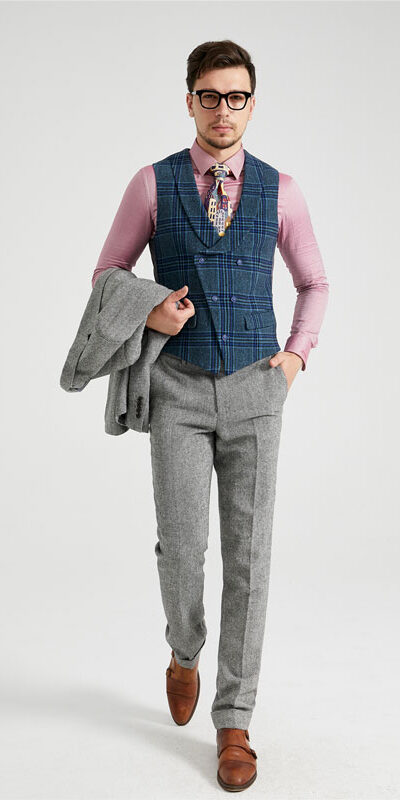 Blue Tartan 3 Piece Combination Tweed Suit