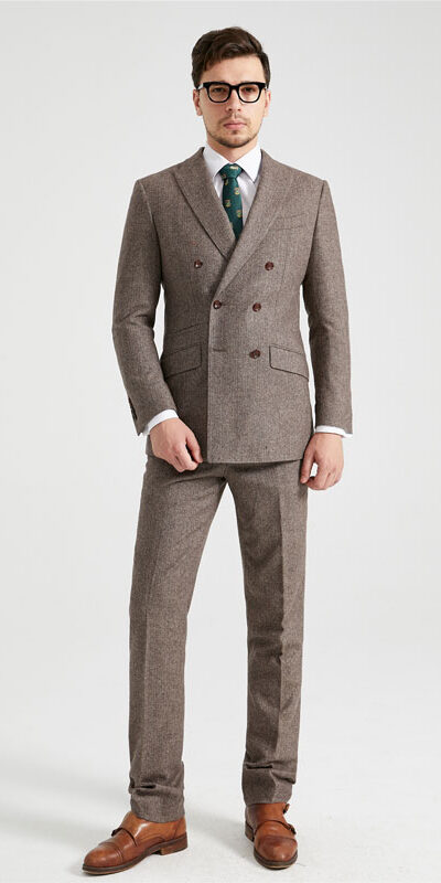 Brown Herringbone Double-Breasted Tweed Suit