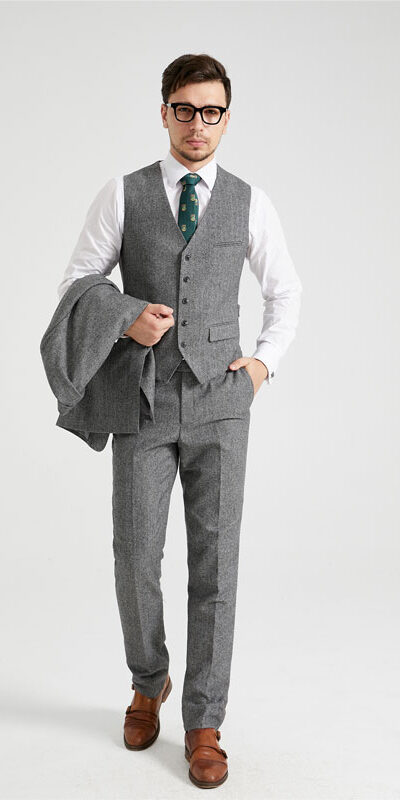 The Durham Grey Herringbone Tweed Suit