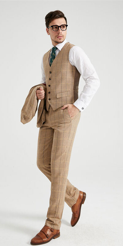 Combrook Mustard Windowpane Herringbone Tweed Suit