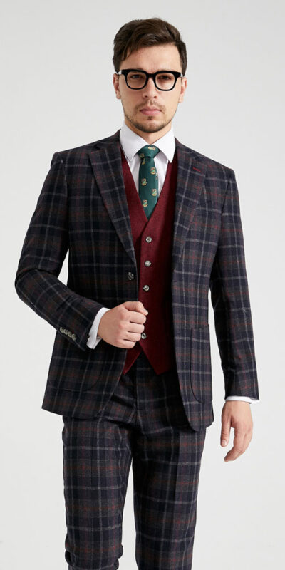 Edgar Tartan 3 Piece Combination Tweed Suit