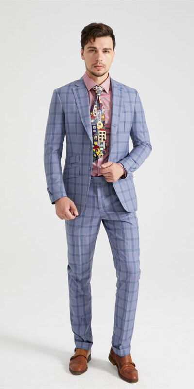Sky Blue Milan Check Suit