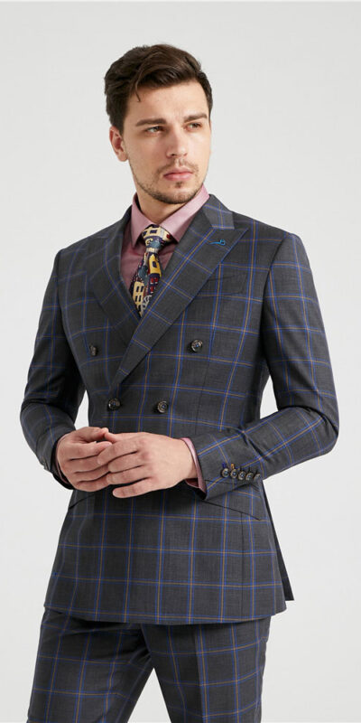 Charcoal Double Windowpane Suit