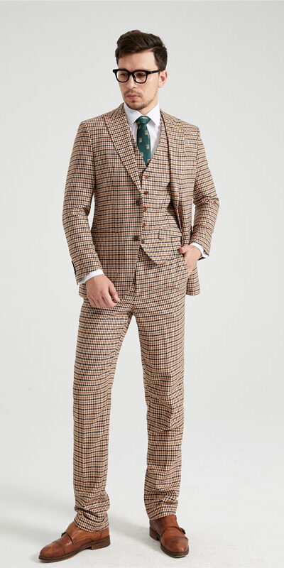 Willesborough Mustard Houndstooth Tweed Suit