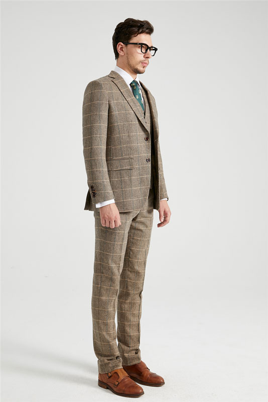 Wheat Brown Herringbone Plaid Tweed Suit