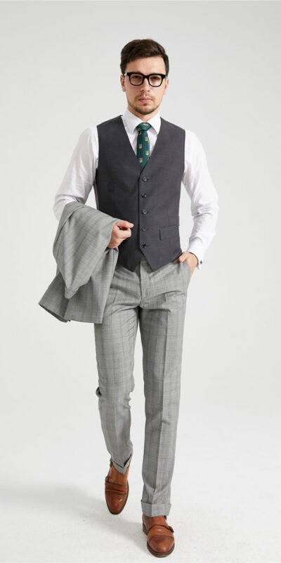 Light Grey Prince of Wales Check Suit