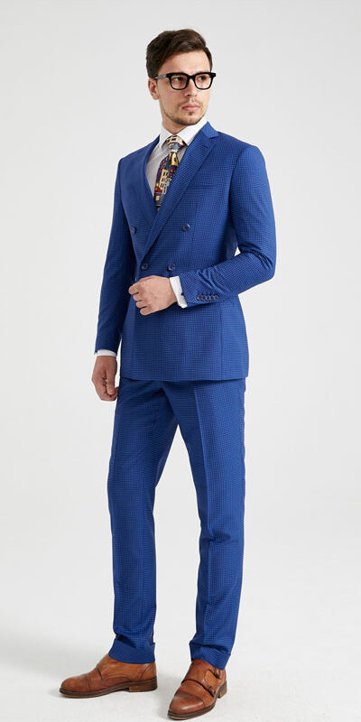 Royal Blue Pinstripe Gingham Check Suit