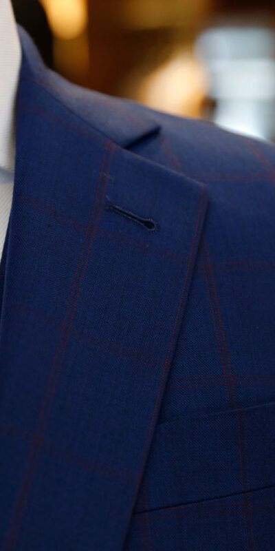 Navy Windowpane Sharkskin Suit